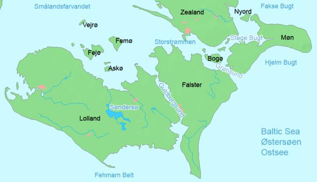 Kort over Lolland og Falster